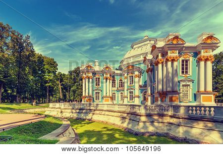 Hermitage Pavilion at the Catherine Park (Pushkin) in summer day