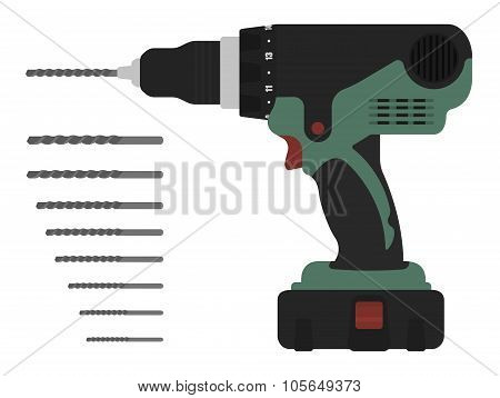 Electric cordless hand drill with bits. Green and red color
