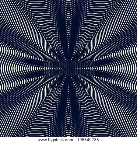 Decorative Lined Hypnotic Contrast Background. Optical Illusion, Creative Black And White Graphic Mo