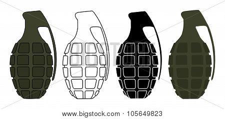 Grenades set. Color, contour, silhouette