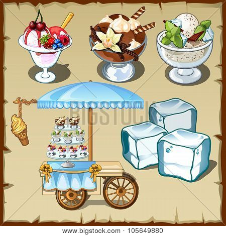 Tasty ice cream and outdoor table on wheels