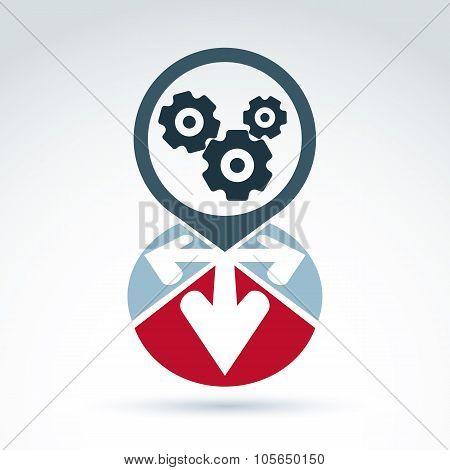 Vector Illustration Of Gears,Enterprise System Idea, Organization Strategy Concept. Cog-wheels