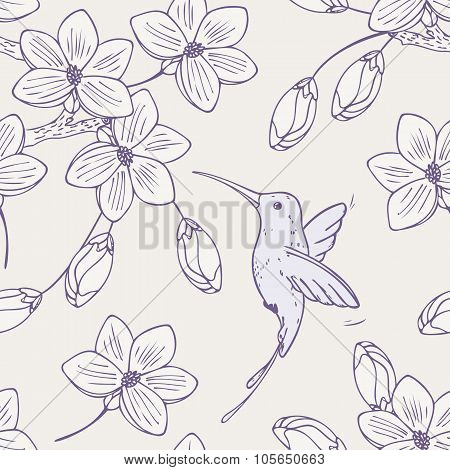Hand drawn seamless pattern with humming bird and flowers