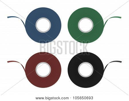 Blue, green, red, black insulation tape set