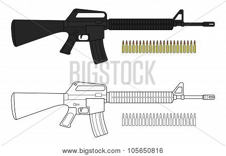 Assault rifle with bullets