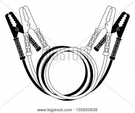 Car jumper power cables. Black and white