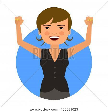 Excited businesswoman with hands up