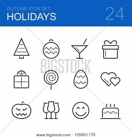Holidays vector outline icon set