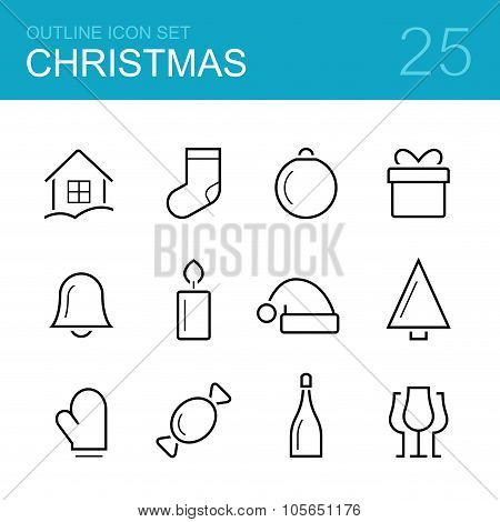 Christmas vector outline icon set