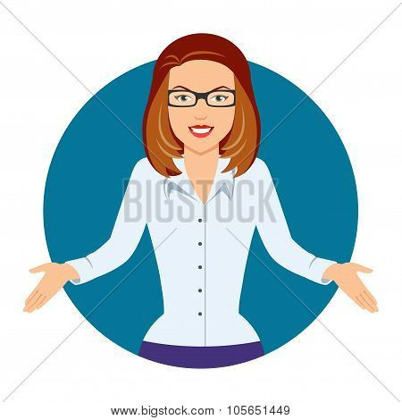 Puzzled businesswoman in glasses