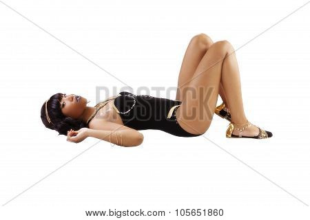 Skinny African American Woman Reclining Black Leotard