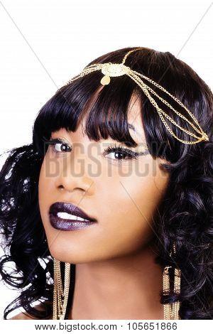 Portrait Attractive African American Woman Golden Jewelry