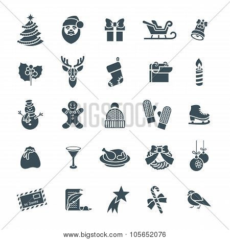 Christmas Symbols Flat Vector Silhouette Icons Set