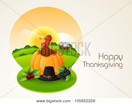 Happy Thanksgiving Day celebration with Turkey Bird coming out from pumpkin on nature background.