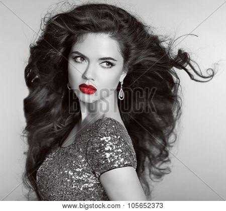 Red Lips. Beautiful Retro Woman Portrait. Helthy Long Wavy Hair. Diamonds Jewellery And Bijouterie.