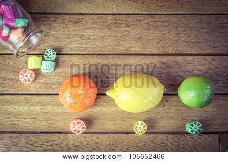 Fruity boiled sweets with citrus fruits