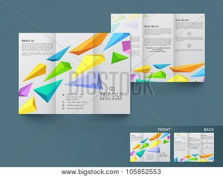 Creative stylish Business Trifold, Flyer, Banner or Template with front and back page presentation.