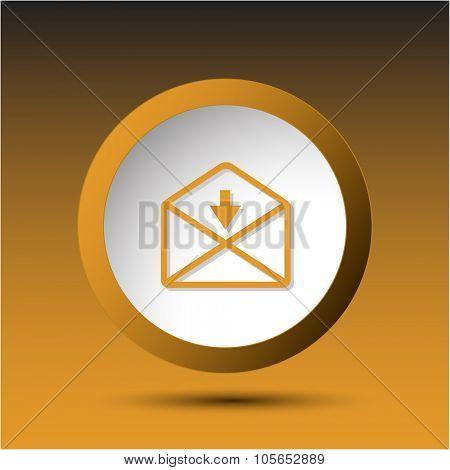mail downarrow. Plastic button. Raster illustration.