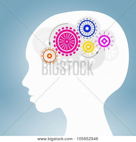 Silhouette of male head with gears in brain