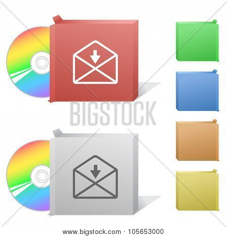 mail downarrow. Box with compact disc.  Raster illustration.