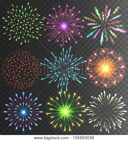 Festive Colorful Firework Salute Burst on Transparent Background