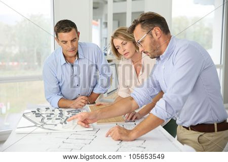 Team of architects meeting in office