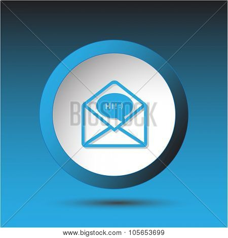 open mail with chat. Plastic button. Raster illustration.