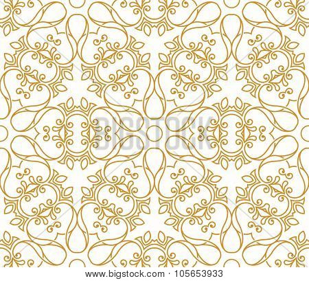 Seamless background in Arabic style. Gold, white wallpaper with patterns for design. Traditional oriental decor