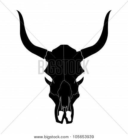 Wild west cow skull with horns. Black