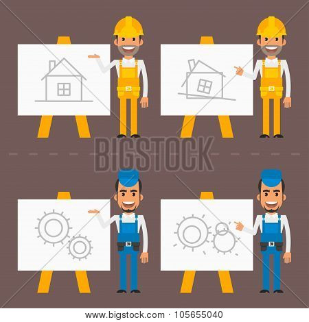 Builder and repairman indicate flip chart