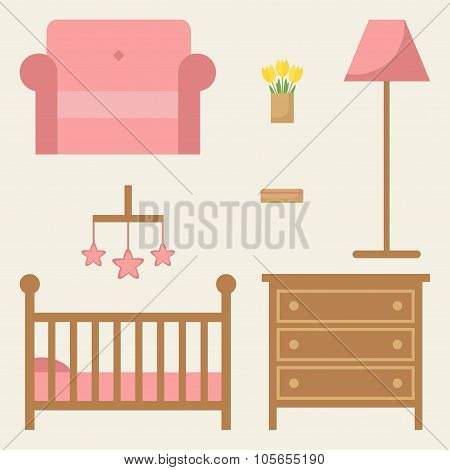 Baby room furniture set.