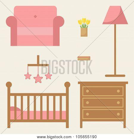Baby room furniture set.
