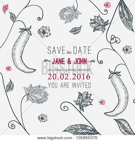 Vector save the date card with floral young peas background. Sketch linear template for invitations,