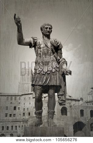 Monument of Julius Cesar.  Picture taken from the street in Rome, Italy.  Roman forum in backgroung.  Black and white picture with texture.