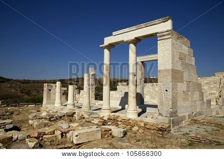 Ruin of the Temple of Demeter, grain of goddess just outside of Sangri on Naxos island in the Cyclades, Greece