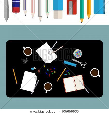 Office desk illustration paper, pencils and other office objects