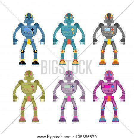 Set Colored Robots. Retro Mechanical Toys. Vintage Space Cyborgs