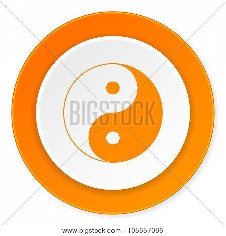 ying yang orange circle 3d modern design flat icon on white background