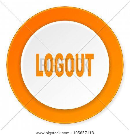 logout orange circle 3d modern design flat icon on white background