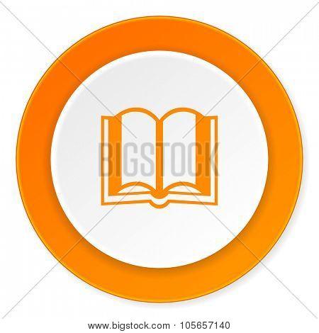 book orange circle 3d modern design flat icon on white background