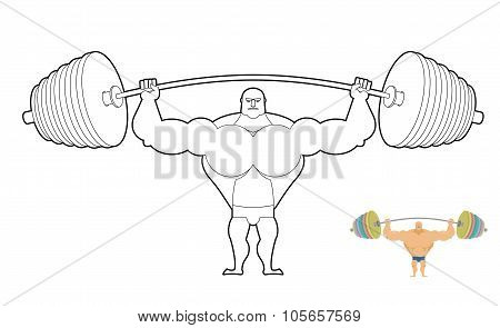 Athlete Barbell Coloring Book. Bodybuilder Harvests. Strong Man Keeps Sports Accessory. Lesson In Gy