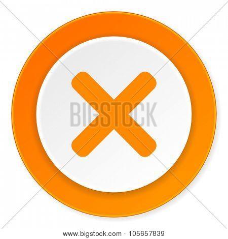 cancel orange circle 3d modern design flat icon on white background