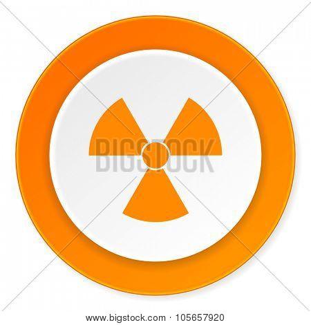 radiation orange circle 3d modern design flat icon on white background