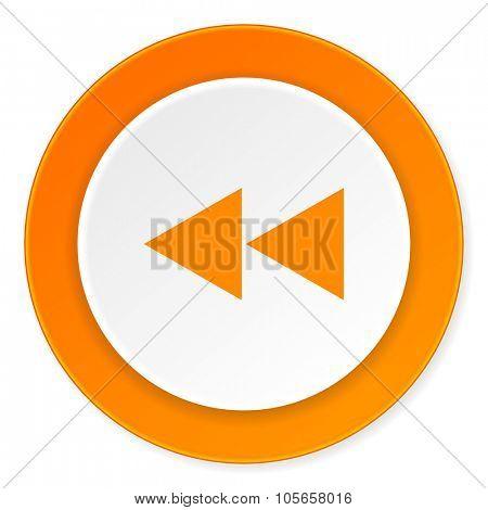 rewind orange circle 3d modern design flat icon on white background