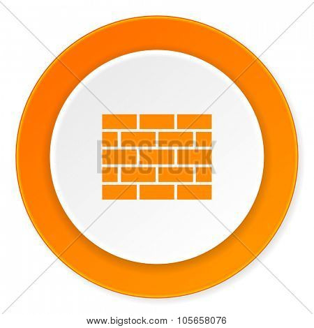 firewall orange circle 3d modern design flat icon on white background