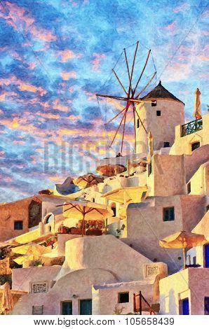 Santorini Windmill At Oia Digital Painting