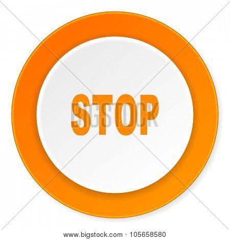 stop orange circle 3d modern design flat icon on white background