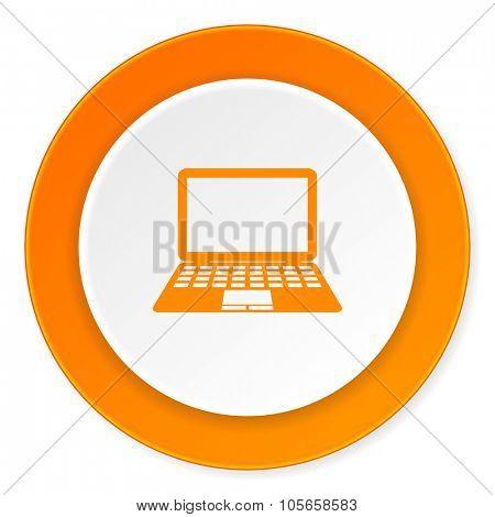 computer orange circle 3d modern design flat icon on white background