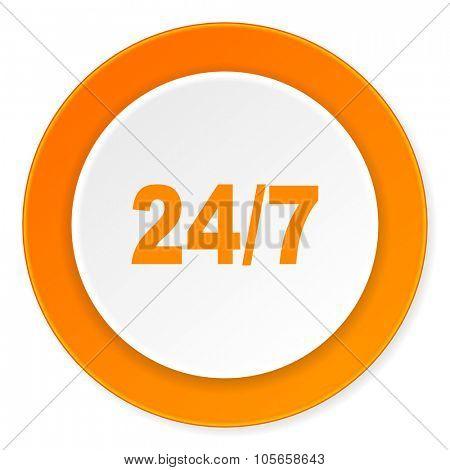24/7 orange circle 3d modern design flat icon on white background