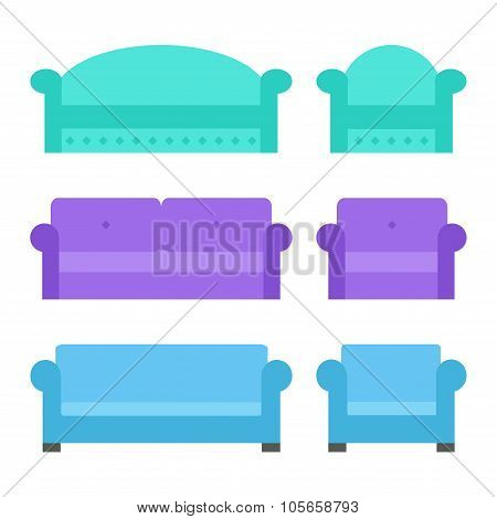 Sofa and armchair set. Isolated sofa and armchair icons on white background.